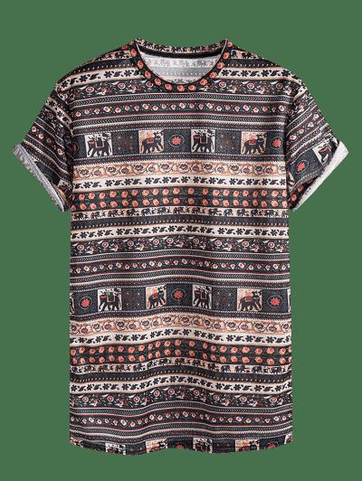 Elephant Seamless Pattern Rolled Sleeve Crew Neck T Shirt