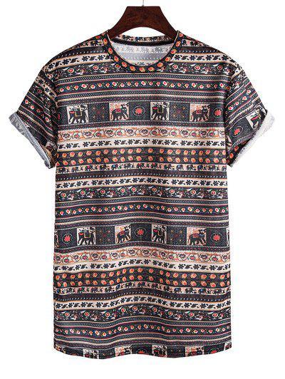 T-shirt Motif D'Eléphant Sans Couture ManchesRouléesà Col Rond - Sépia M