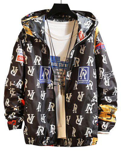 Letter Graphic Lightweight Sunproof Hooded Jacket - Black L