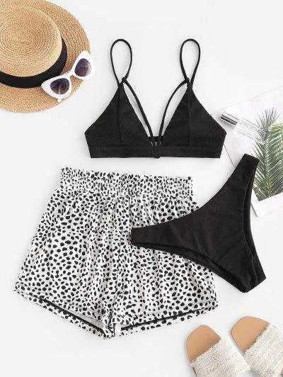 ZAFUL Leopard Ribbed Strappy Three Piece Bikini Swimwear - Black S