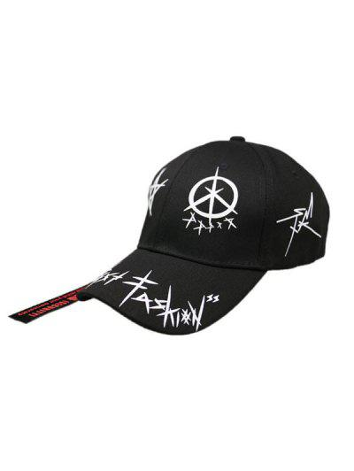 Star Grafitti Print Adjustable Baseball Cap - Black