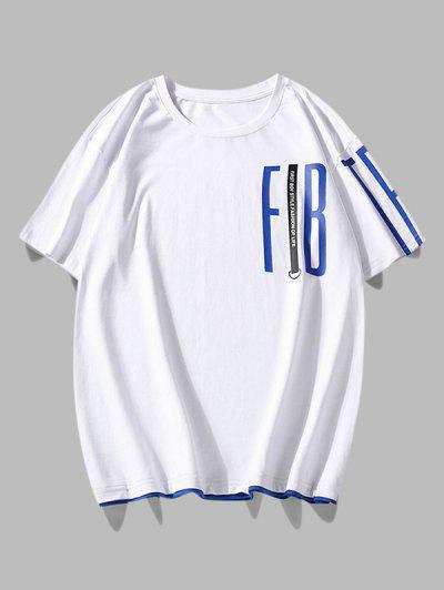 Contrast Brim Letter Print T Shirt - White 2xl