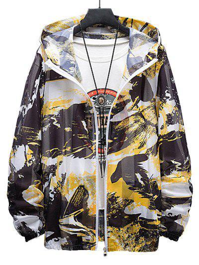 Paint Print Sunproof Mesh Hooded Jacket - Yellow L