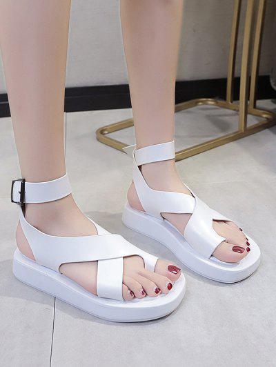 Toe Loop Cross Strap Platform Sandals - White Eu 40