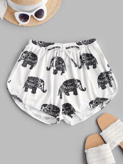 ZAFUL Ribbed Elephant Print Bowknot Swim Bottom - White L