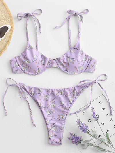 ZAFUL Flower Underwire String Bikini Swimwear - Light Purple M
