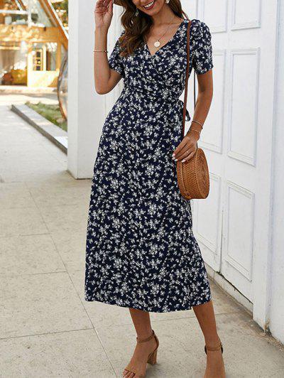 Tiny Floral Print A Line Wrap Dress - Deep Blue L