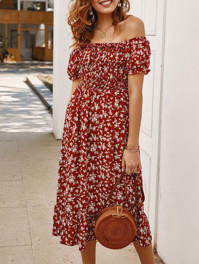 Off Shoulder Tiny Floral Tied Dress - Red L