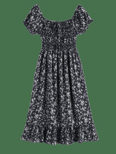 Off Shoulder Tiny Floral Tied Dress