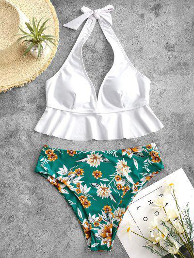 ZAFUL Halter Flounce Plant Print Tankini Swimwear - Greenish Blue 2xl