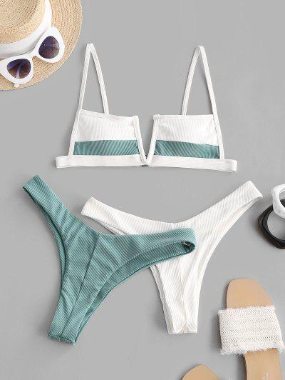ZAFUL Ribbed V-wired Two Tone Three Piece Swimsuit - Light Blue M