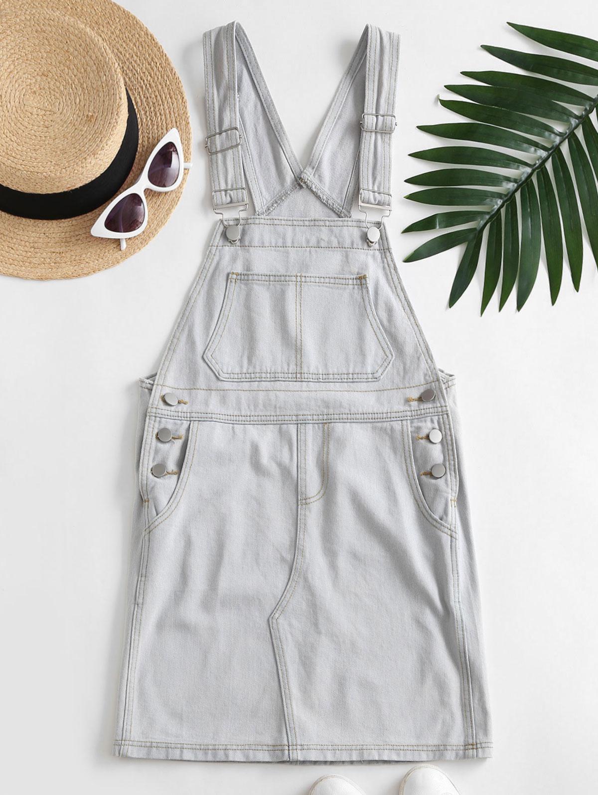 Casual Denim Pockets Overalls Dress