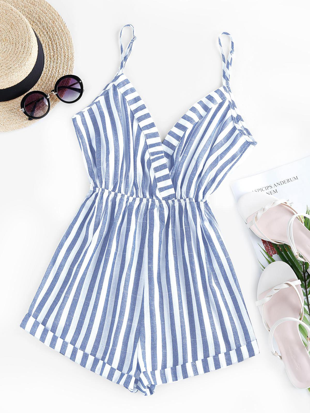 ZAFUL Stripe Surplice Romper
