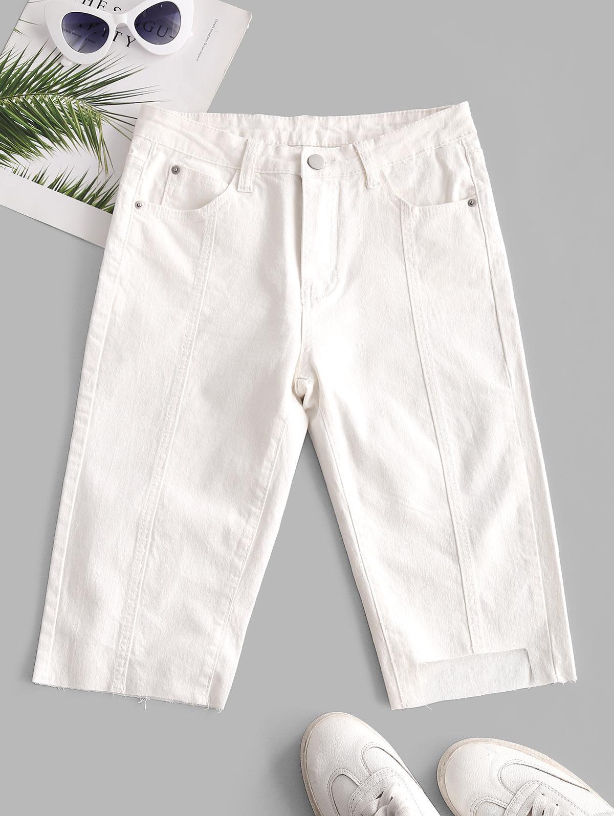 Uneven Hem Capri Jeans