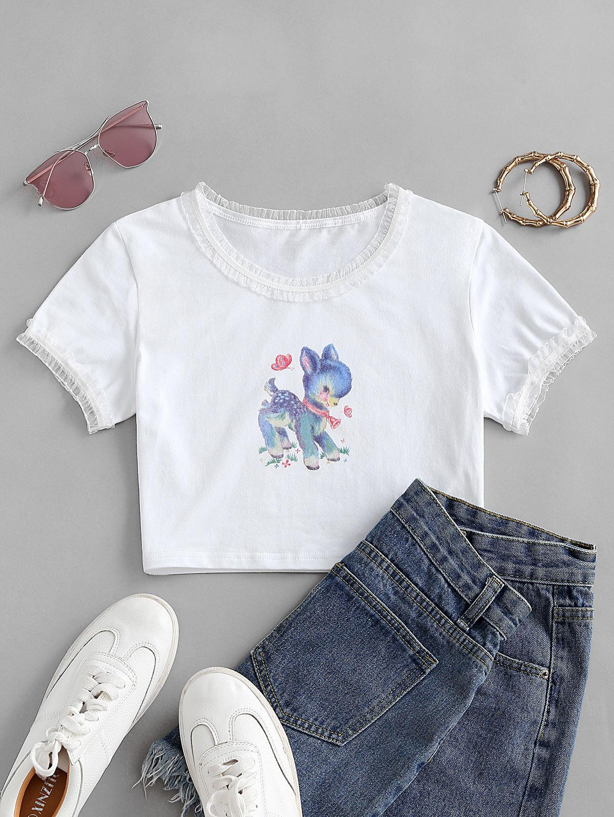 Funny Animal Graphic Mesh Trim Cropped Tee