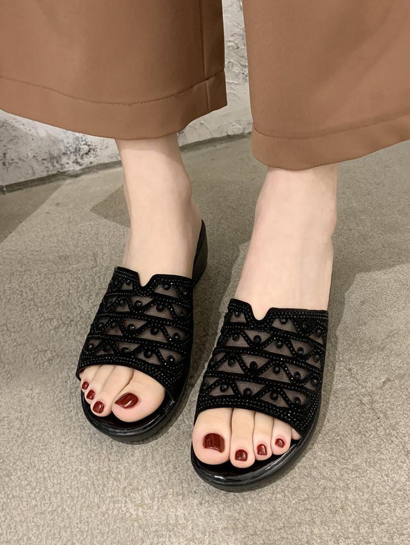 Mesh Rhinestone Wedge Slides Sandals