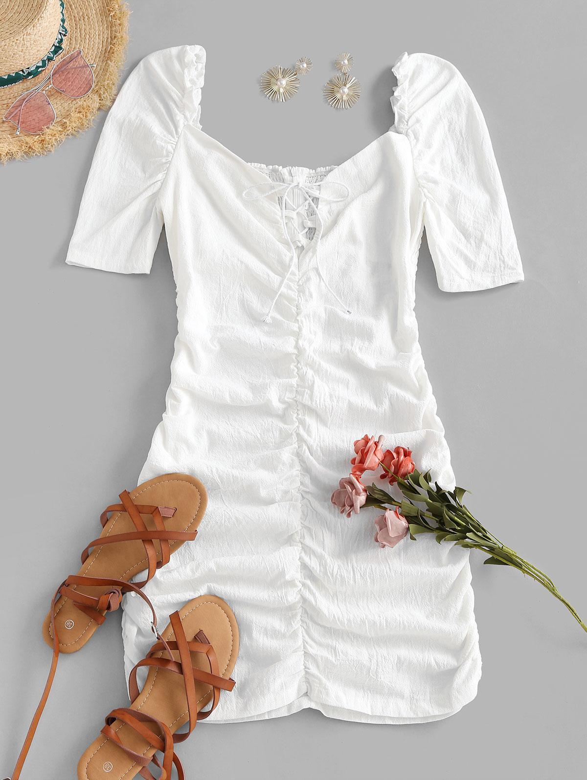 Gathered Puff Sleeve Lace Up Mini Dress