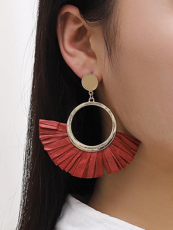 Semicircle Raffia Straw Alloy Drop Earrings
