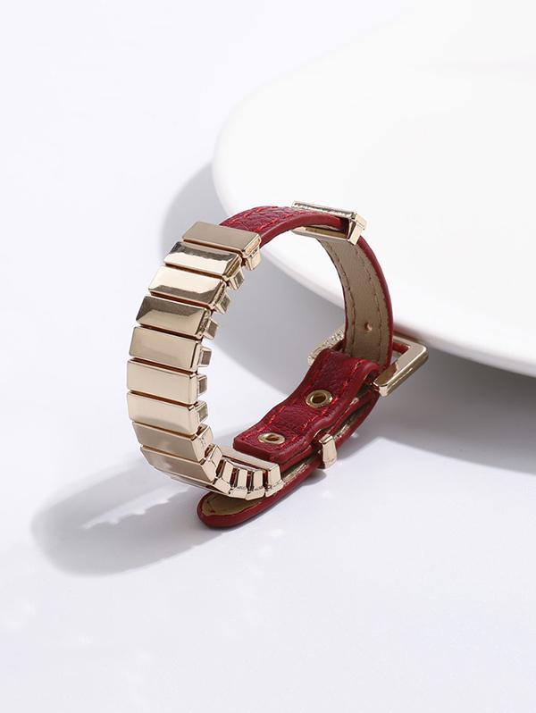 Punk Alloy Faux Leather Bracelet