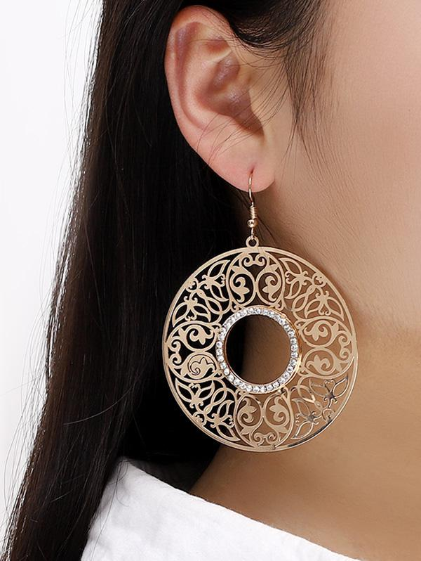 Alloy Hollow Out Round Drop Earrings