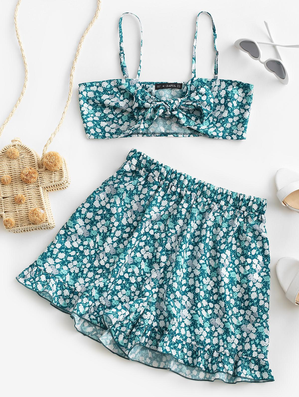 Ditsy Print Tie Front Ruffled Co Ord Set