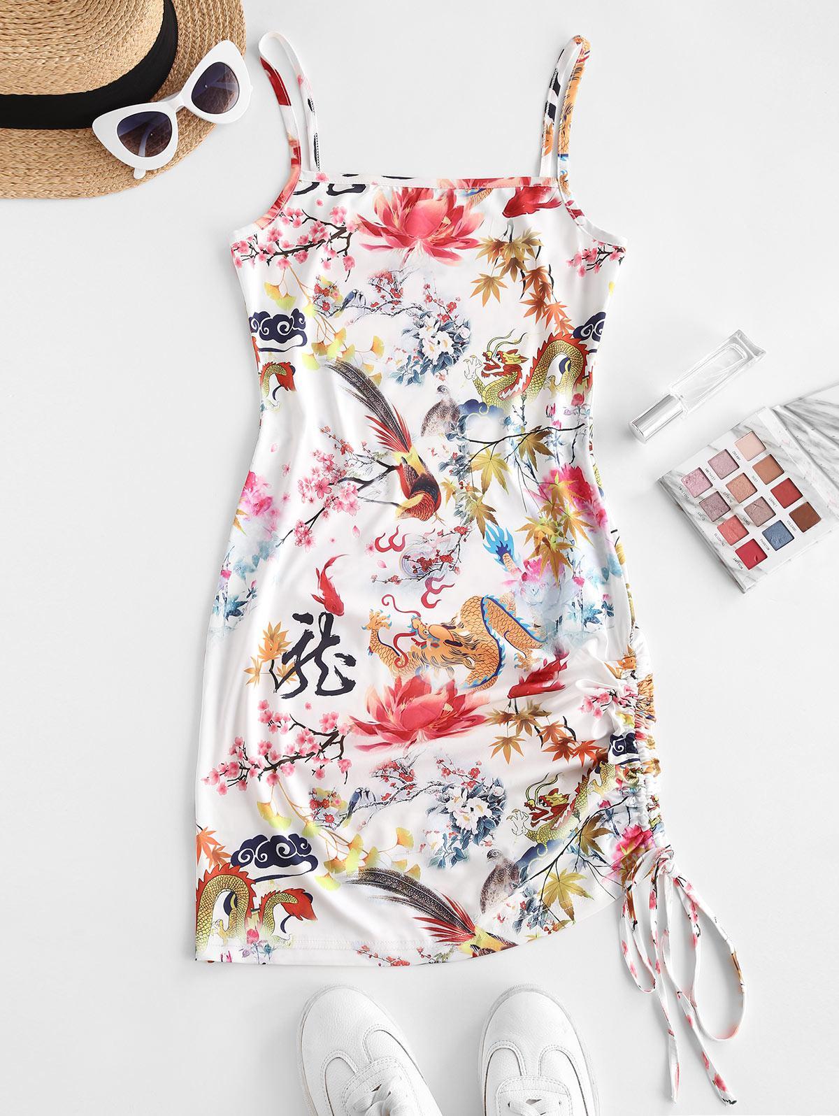 ZAFUL Dragon Bird Print Oriental Cinched Bodycon Dress
