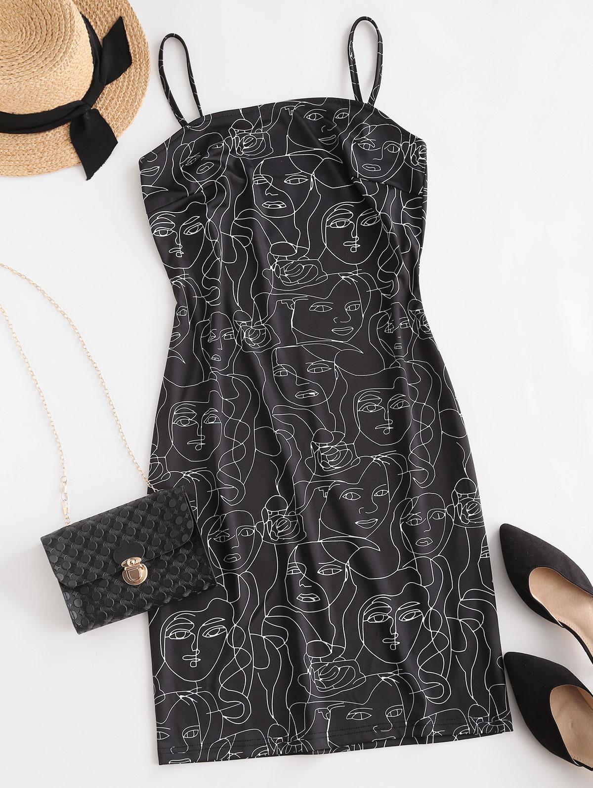 ZAFUL Figure Sketch Print Cami Bodycon Dress