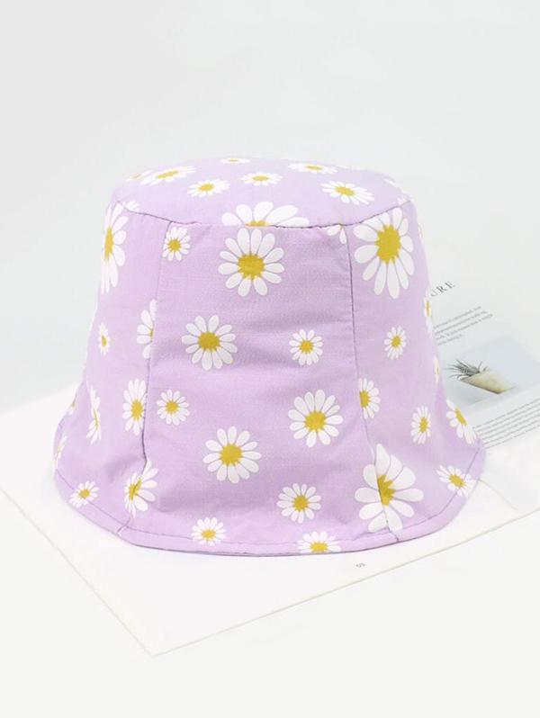 Daisy Pattern Cotton Bucket Hat