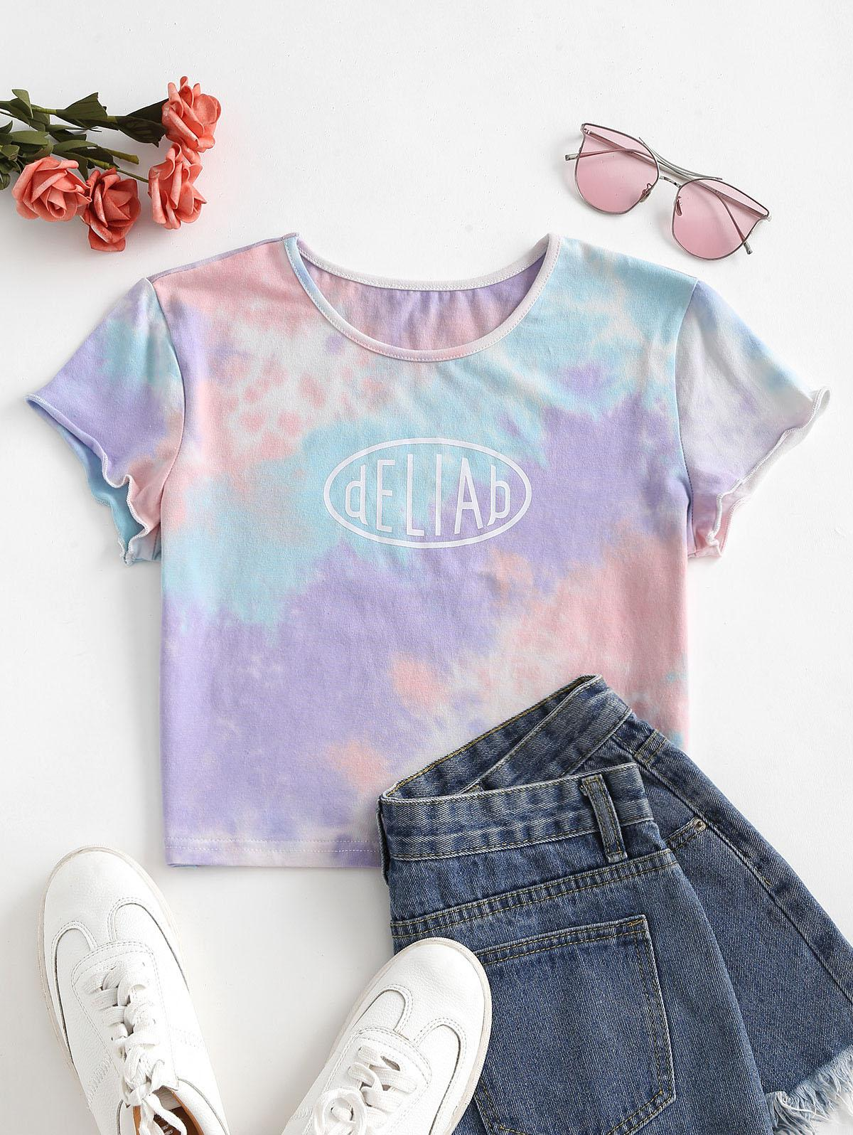 Letter Graphic Tie Dye Cropped Tee