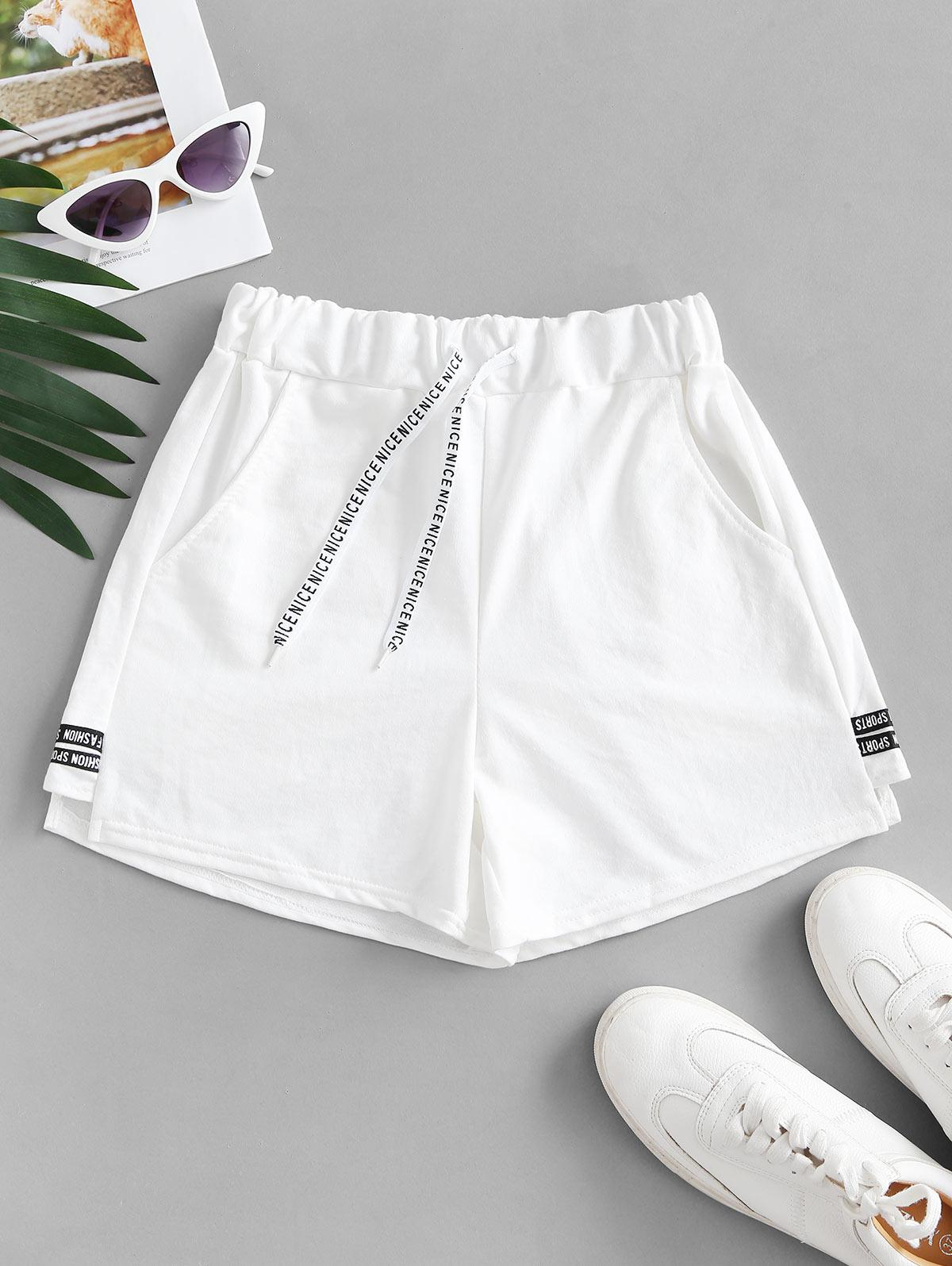 Letter Taped Drawstring Pocket Sweat Shorts