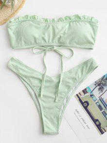 Ribbed Frilled High Cut Bikini Swimwear