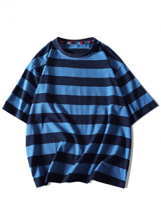T-shirt Rayé Contrasté Lettre Imprimée à Manches Courtes - Bleu Marine 3XL