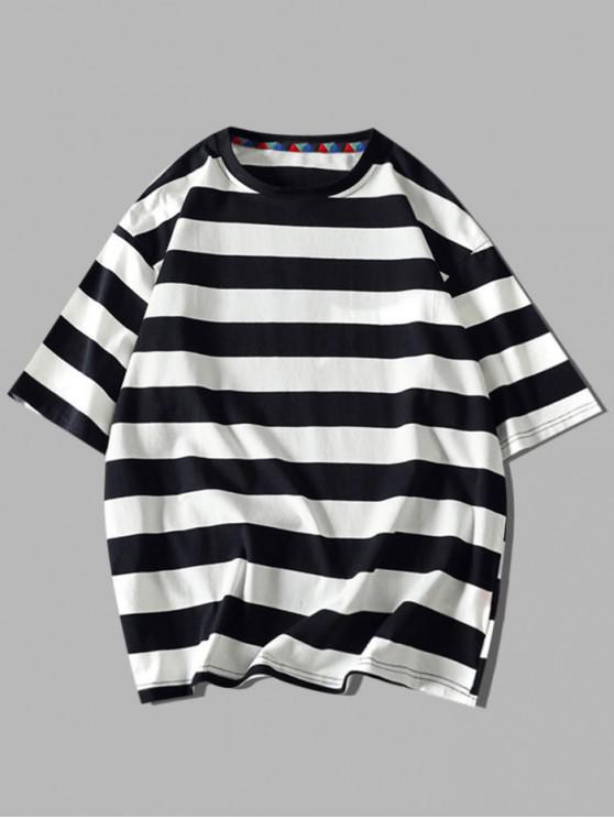 T-shirt Rayé Contrasté Lettre Imprimée à Manches Courtes - Noir 3XL