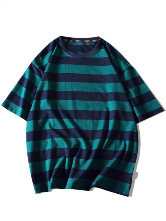 T-shirt Rayé Contrasté Lettre Imprimée à Manches Courtes - Vert Foncé 3XL