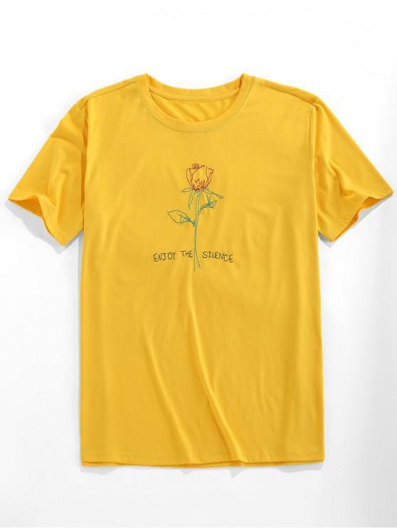 lady ZAFUL Short Sleeve Rose Pattern Embroidery T-shirt - BRIGHT YELLOW 2XL