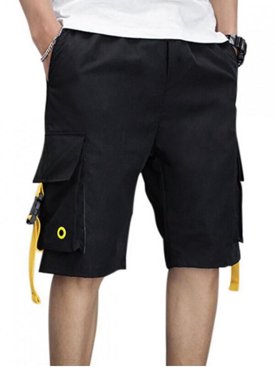 Letter Embroidery Flap Pocket Cargo Shorts - أسود XS