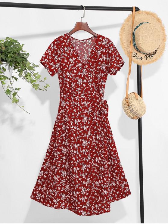 shop Tiny Floral Print A Line Wrap Dress - RED WINE XL