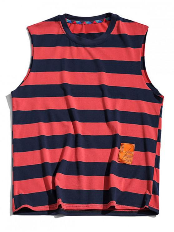 online Color Blocking Letter Pattern Tank Top - LAVA RED XL
