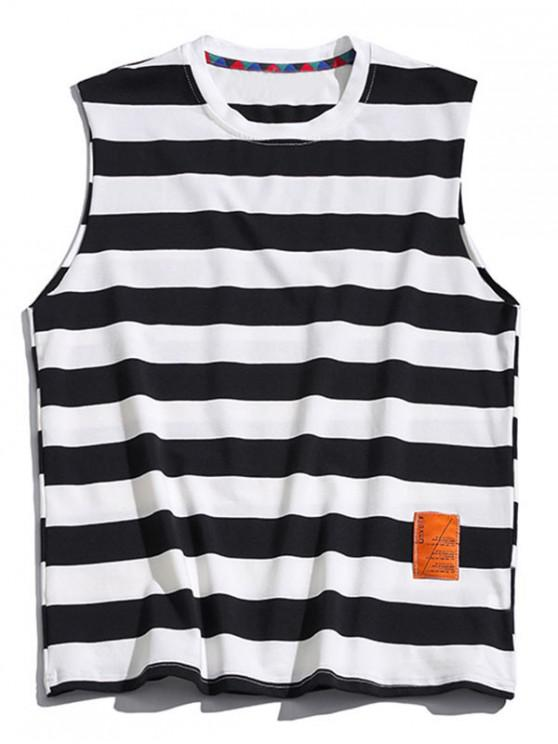 chic Color Blocking Letter Pattern Tank Top - BLACK 3XL