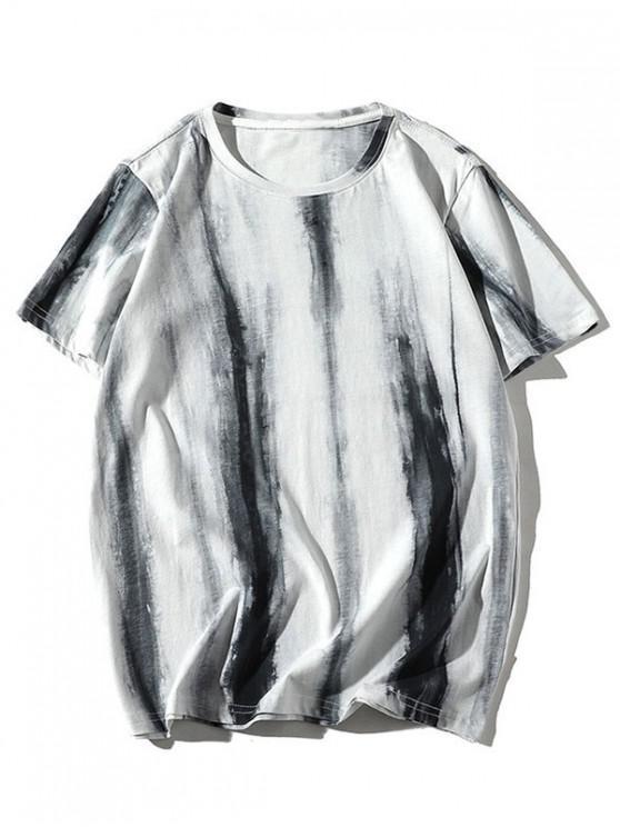 Painting Printed Casual Round Neck T-shirt - حليب ابيض XS