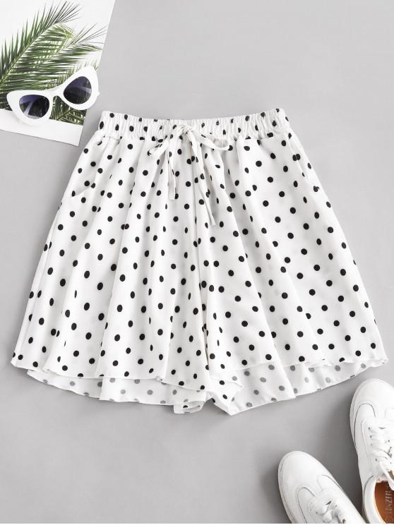 women's Polka Dot Wide Leg Tie Pocket Shorts - WHITE 2XL