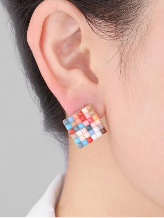 womens Colorblock Square Stud Earrings - MULTI
