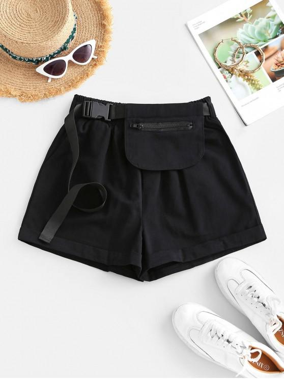 online Buckle Pocket Belted High Rise Cuffed Shorts - BLACK M
