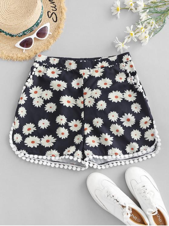 women's High Waisted Crochet Trim Floral Shorts - BLACK S