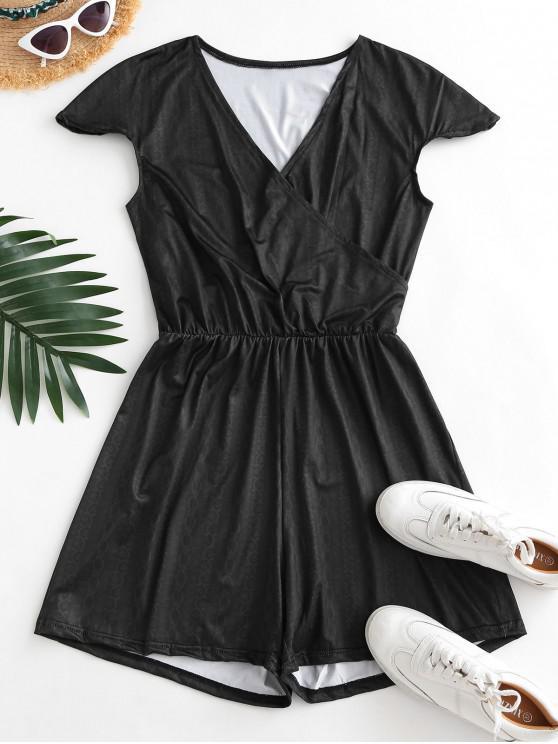 online Surplice Low Cut Cap Sleeve Print Romper - BLACK M