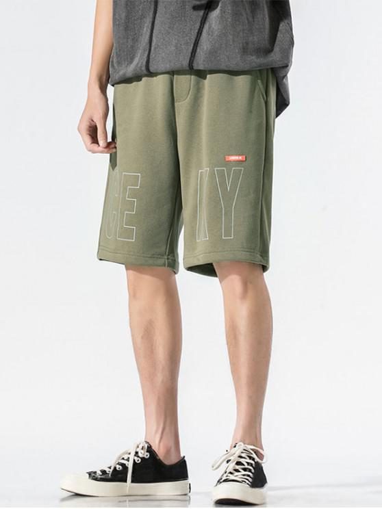 trendy Letter Graphic Casual Straight Shorts - ARMY GREEN S