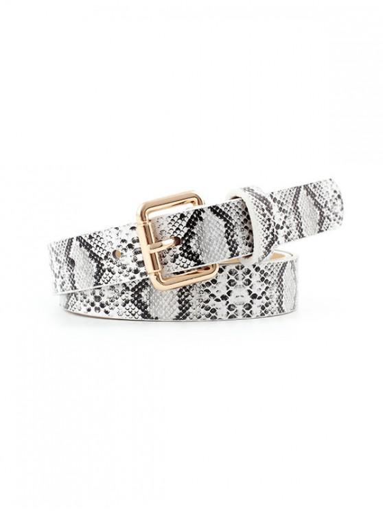 outfit Snake Print Buckle Belt - WHITE