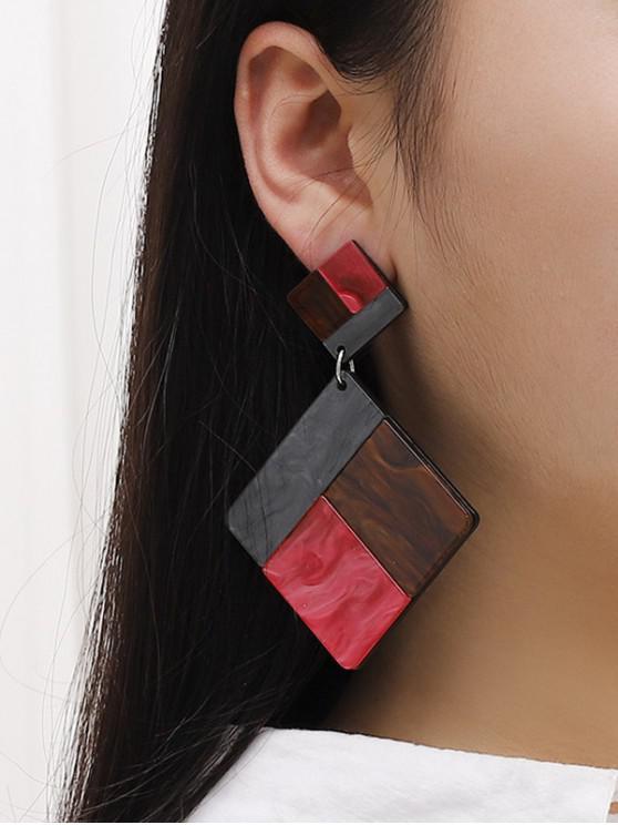 unique Colorblock Square Resin Drop Earrings - MULTI