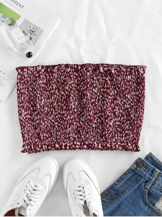 ZAFUL Smocked Ditsy Floral Bandeau Top - نبيذ احمر XL