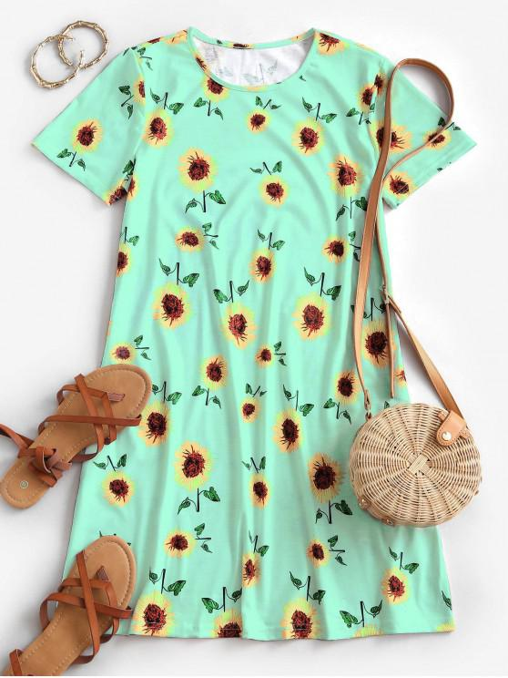 best Sunflower Print Trapeze T-shirt Dress - GREEN M